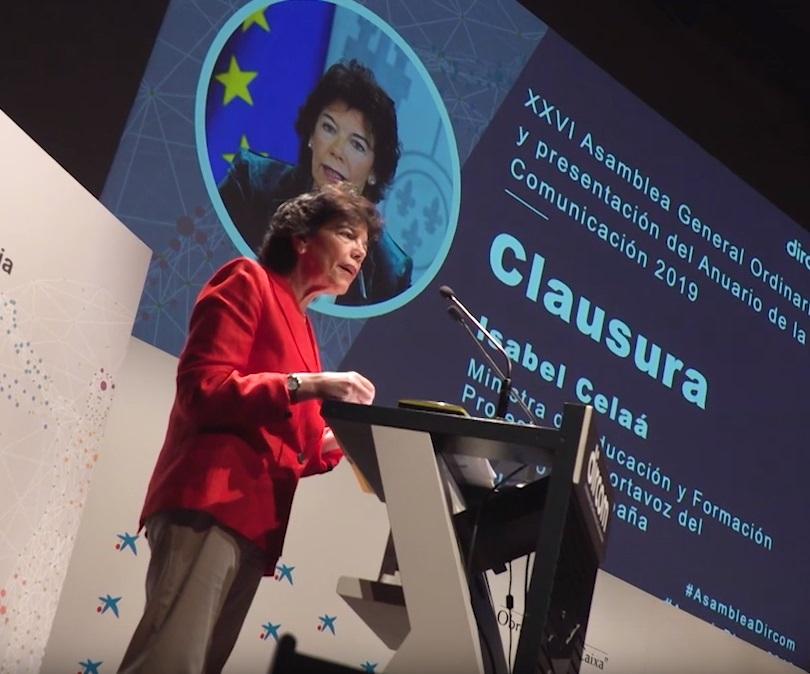 Isabel Celaá en la XXVI Asamblea de Dircom